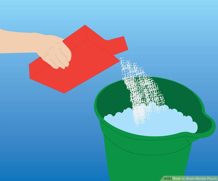 Βήμα 2: Προσθέστε απορρυπαντικό ή υγρό σαπούνι στο δροσερό νερό. Το απορρυπαντικό πρέπει να είναι κοντά στο ουδέτερο pH (περίπου 7) και πολύ απαλό.